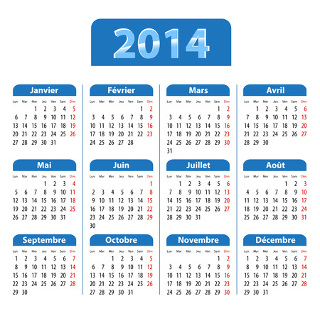 january 1st: Blue glossy calendar for 2014 in French. Mondays first. Vector illustration  Illustration