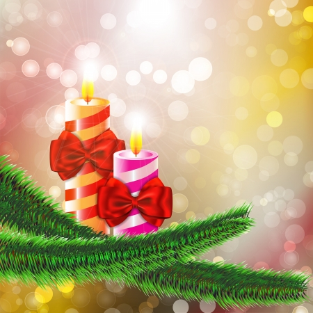 Two burning candles with bows on Christmas tree branch on bokeh abstract background. Vector illustration Vector
