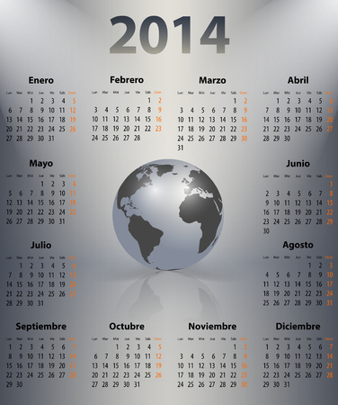 Calendar for 2014 year in Spanish with the world globe in a spot. Mondays first. Vector illustration Vector