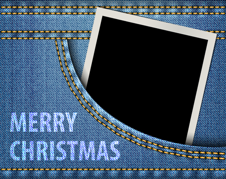 Merry Christmas greeting and blank photo frame in blue jeans pocket. Vector illustration Stock Vector - 23866571