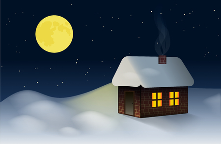drifts: A small cottage on the snowy winter landscape. Around the hut on the snow drifts. Vector illustration