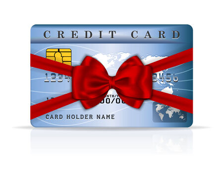 Credit or debit card design with red ribbon and bow. Vector illustration Vector