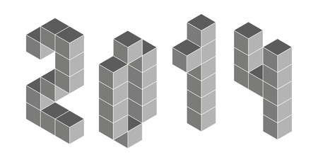 constructional: 2014 digits from isometric cubes. Pseudo three dimensional. Vector illustration