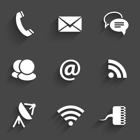 phone button: Modern communication signs and icons in Flat Design with shadows on dark gray. Vector illustration Illustration