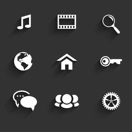 Modern communication signs and icons in Flat Design with shadows on dark gray.illustration Ilustração