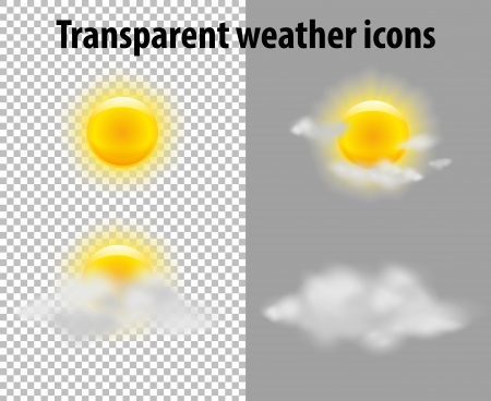 mostly: Sun and clouds in transparent weather icons set. Vector Illustration