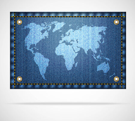 White world map on blue jeans background. Concept of jeans world. Vector illustration Vector