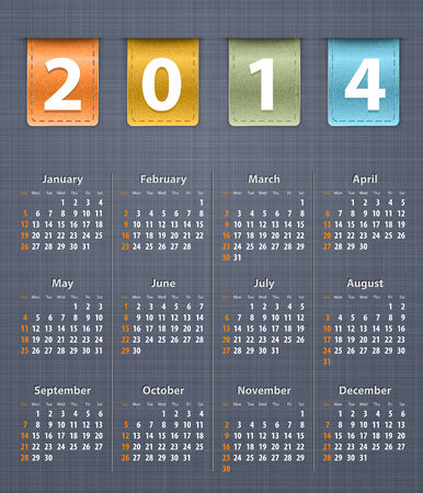 inset: Stylish calendar for 2014 on linen texture with color leather insertions. Vector illustration