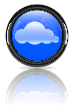 Cloudscape in glossy sign Vector