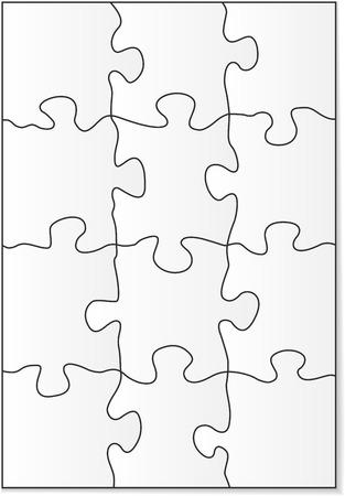 piezas de rompecabezas: 12 piezas del rompecabezas de formas en blanco