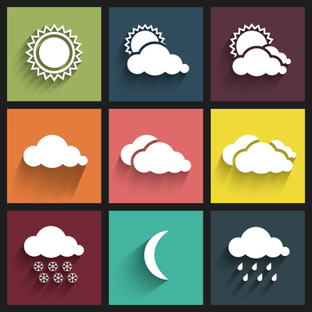 Flat design weather icons set. Vector Illustration Illustration
