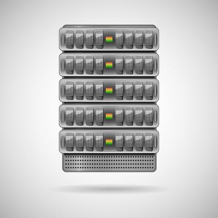 renderfarm: Servers installed in rack. Vector illustration
