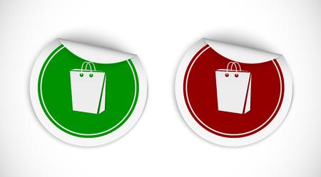 bugs shopping: Estilo de la etiqueta engomada signo bolsa de compras. Ilustraci�n vectorial