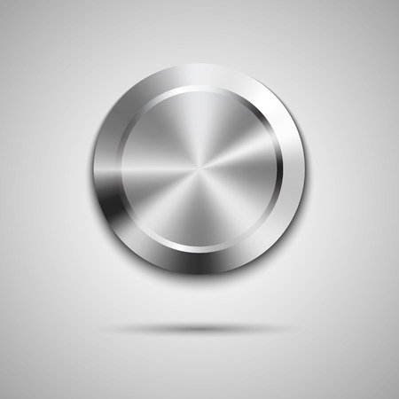 Abstract technology circle button template with metal texture (chrome, steel, silver), realistic shadow and light background for user interfaces (UI), applications (apps) and business presentations