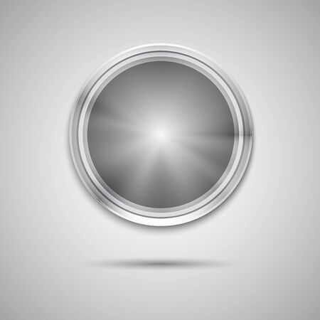 Abstract technology circle button template with metal texture (chrome, steel, silver), realistic shadow and light background for user interfaces (UI), applications (apps) and business presentations Vector