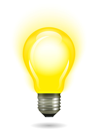 Glowing yellow light bulb. Vector illustration