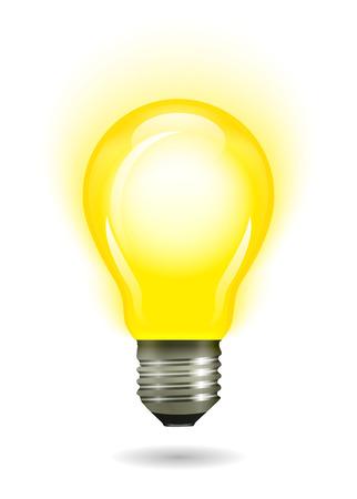Glowing yellow light bulb. Vector illustration