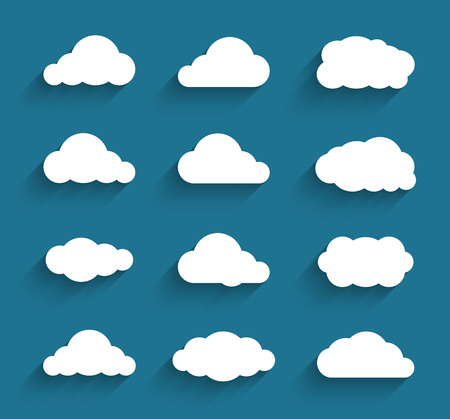 ciel avec nuages: Appartement cloudscapes de conception collection. Ombres plates. Vector illustration