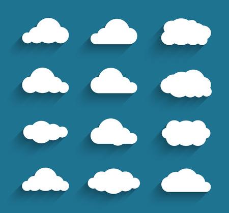 Platte ontwerp cloudscapes collectie. Vlakke schaduwen. Vector illustratie