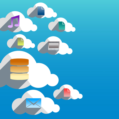 Cloud computing abstract concept with flat design icons  Vector illustration  Vector