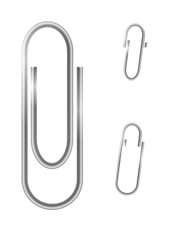 paper fastener: Paper clips isolated on white  Vector illustration