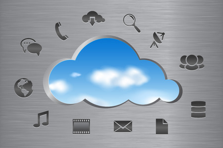 windows media video: Cloud computing abstract concept  Cloud shape cut out from brushed metal wall with a view of the clouds in the sky and icons  Vector illustration  Illustration