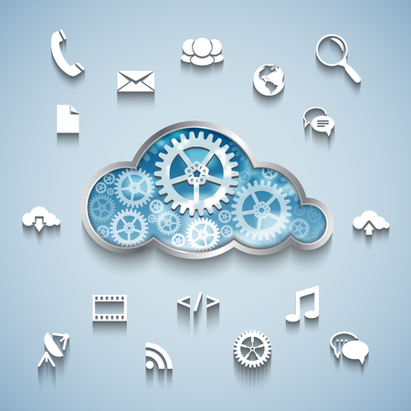 virtual servers: Cloud computing concept: Gear wheel cloud and communication and network flat design icons on blue background. Vector illustration