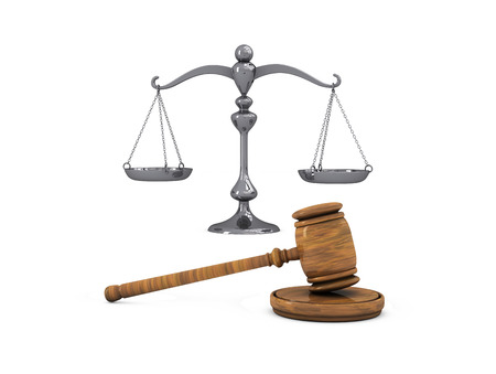 High resolution illustration of Gavel and scale isolated on white background