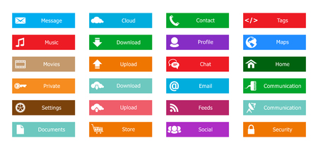 Web Design elements, buttons, icons. Templates for website