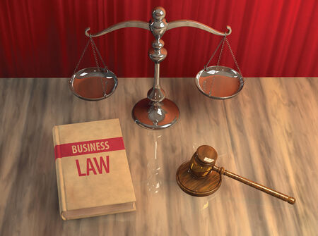 attributes: Illustration of legal attributes: gavel, scale and business law book on the table Stock Photo
