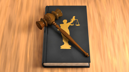 Gavel on a law book on the table. Conceptual illustration Stock Photo