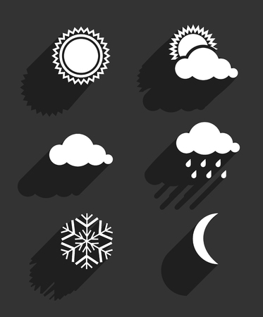 rainy season: Flat design weather icons set