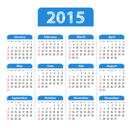 Blue glossy English calendar for 2015 Vector