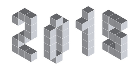 constructional: 2015 digits from isometric cubes for calendars Illustration