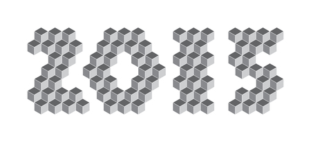 2015 digits from isometric cubes for calendars Vector