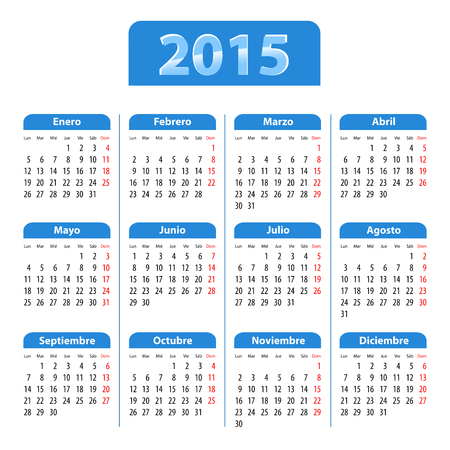 Blue glossy calendar for 2015 in Spanish Illustration