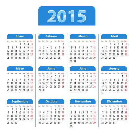Blue glossy calendar for 2015 in Spanish Иллюстрация