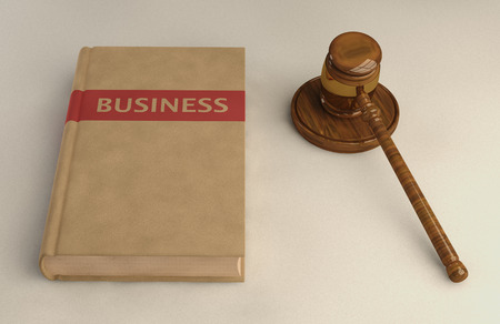 precedent: Gavel and Business law book on linen surface