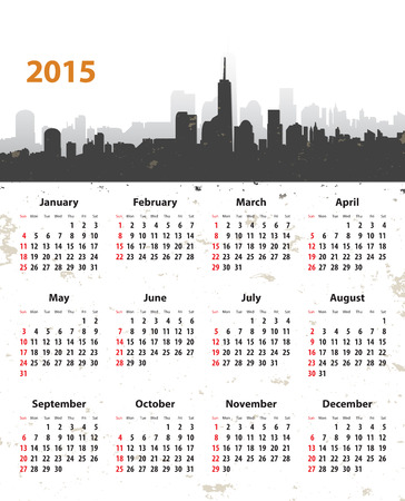 2015 year stylish calendar on New York cityscape grunge Vector