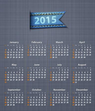 linen texture: Calendario con estilo para el a�o 2015 en la textura de lino con la ilustraci�n de inserci�n vaqueros Vector Vectores