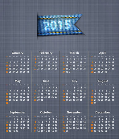 insertion: Stylish calendar for 2015 on linen texture with jeans insertion  Vector illustration