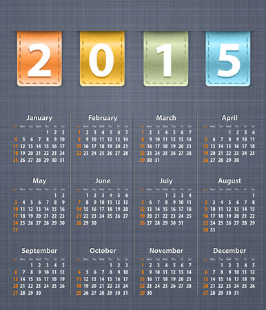 inset: Stylish calendar for 2015 on linen texture with color leather insertions  Vector illustration Illustration
