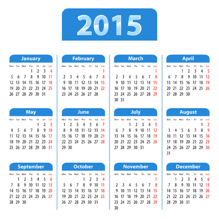 mondays: Blue glossy English calendar for 2015  Mondays first  Vector illustration