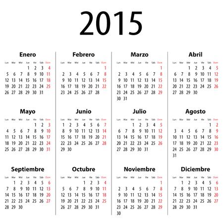 calendario septiembre: Calendario espa�ol para 2015. Lunes primero. Cifras en negrita. Ilustraci�n vectorial Vectores