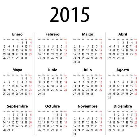 mondays: Spanish Calendar for 2015. Mondays first. Bold digits. Vector illustration