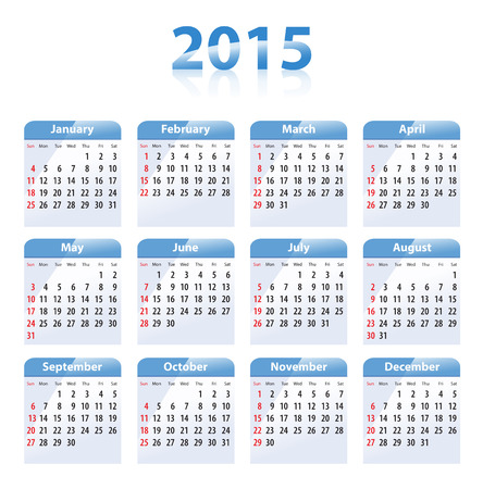 wednesday: Blue glossy calendar for 2015 in English. Sundays first. Vector illustration