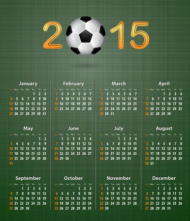 linen texture: Calendario de f�tbol para 2015 sobre la textura de lino verde ilustraci�n vectorial
