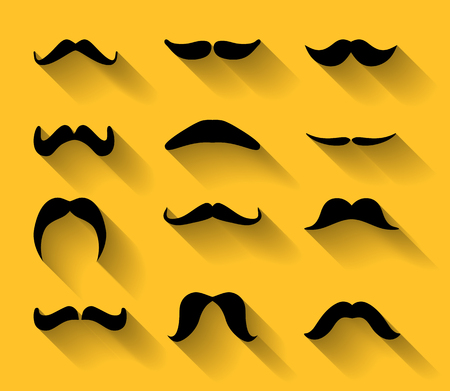 Collection of various type of mustaches with shadows   Illustration