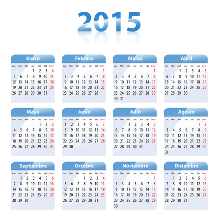 mondays: Blue glossy calendar for 2014 in Spanish  Mondays first