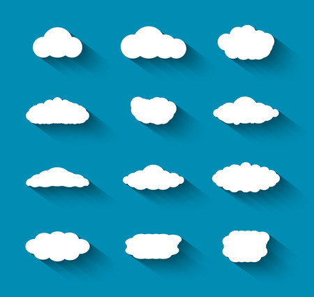 Flat design cloudscapes collection with shadows   Vector